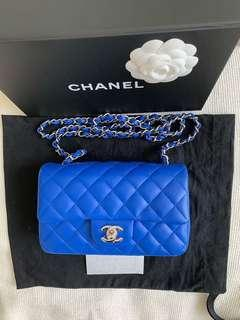 100% Brand New and Authentic CHANEL Rectangular Mini Chain Shoulder bag, Full Set with Receipt, Blue lambskin