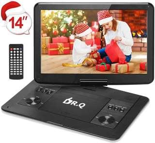 🚚 DR.Q 14.1'' Portable DVD Player with 5 Hours Rechargeable Battery, 1280x800 HD Swivel Screen, Remote Control, 5.9ft Car Adapter, Supports SD Card, USB Port and Multiple Disc Formats-Black