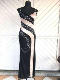 Imported Black & Gold Long Gown