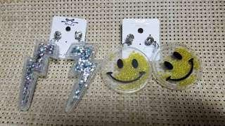 閃片 耳環 earrings 笑哈哈 閃電