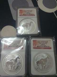 2014 lunar horse silver coin ms70