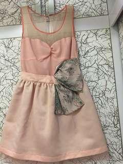 Gallo Bythian/ peach dress/ mini dress/ dinner dress / By thian