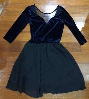 H&M Half Sleeve Velvet Skater Dress Navy Blue