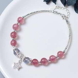 草莓晶及拉長石手鏈 – 925純銀系列【貨號:00249】