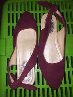 Flatshoes Buludru maroon