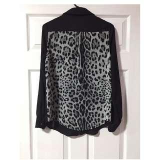 Jad Paris Black & Leopard Print Back Zip Through Blouse - Size 10 - Free Shipping