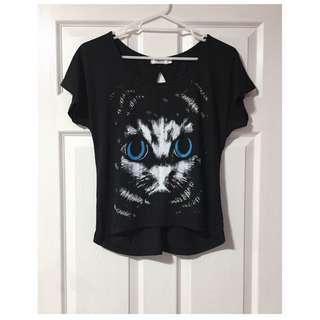 Blue Eyed Cat Black Tee With Cut Out Back - Size M