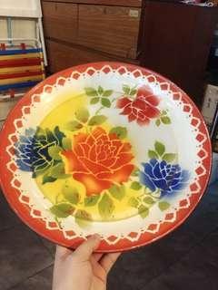 Vintage Made in Occupied Japan Enamel Tray Flower 1950s