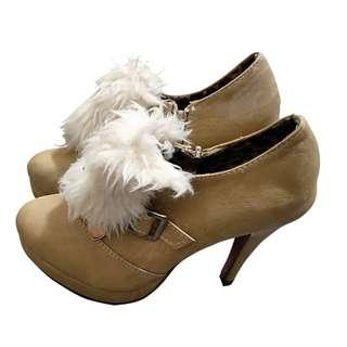 🚚 韓版 絨布白毛 內裡豹紋高跟鞋 夜店跑趴 逛街約會款 附鞋盒