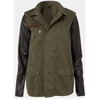 (REPRICED) Topshop Army Jacket With Leather Sleeves
