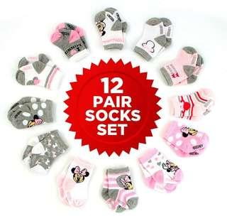 *Brand New* Disney Baby Girls Minnie Mouse Assorted Color Socks Set (Pink+White / Red+Black / Multi) , 12 Pair, Age 0-6, 6-12, 12-24 Months (Best Gift for Toddler, Full Month Party and Newborn Baby Showers ) new parents and parents-to-be
