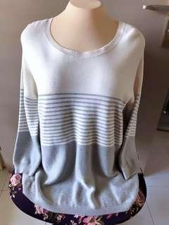 🚚 Pleated Sweater White Grey