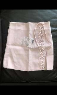 🚚 INSTOCK dusty rose light pink mini skirt suede