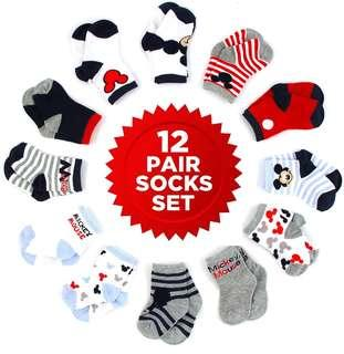 *Brand New* Disney Baby Girls Minnie Mouse Assorted Color Socks Set , 12 Pair, Age 0-6, 12-24 Months (Best Gift for Toddler, Full Month Party and Newborn Baby Showers ) new parents and parents-to-be