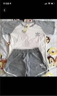 🚚 Adidas raglan shirt and runner shorts sports set