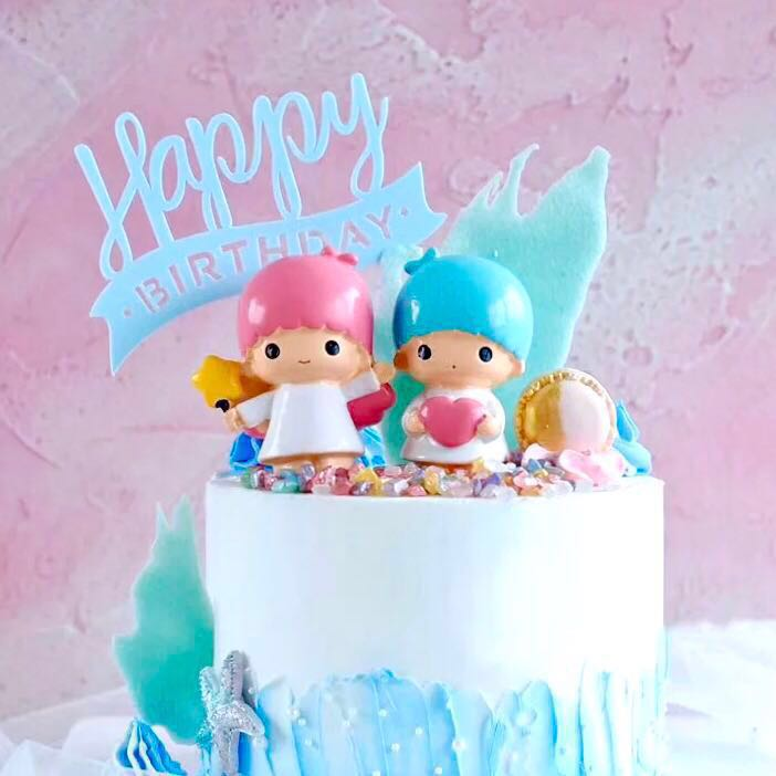 Little Twin Stars Birthday Cake Toppers Figures Design Craft