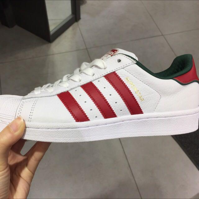 Adidas Superstar red green sneakers