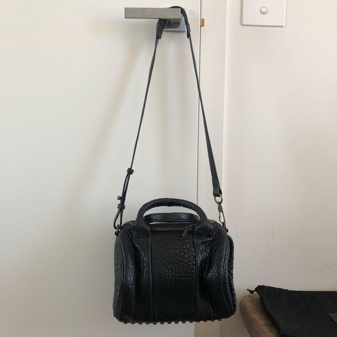 Alexander Wang Rockie in Pebbled Black with Aged Gold