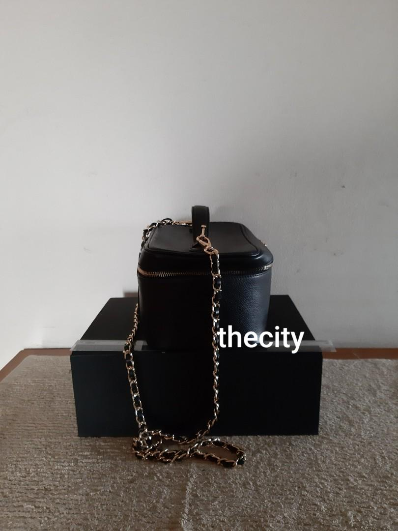 AUTHENTIC CHANEL LARGE XL DOUBLE ZIP VANITY BAG - BLACK CAVIAR LEATHER - WITH MIRROR INSIDE - CLEAN INTERIOR - SOLID SHAPE STRUCTURE  - COMES WITH EXTRA LONG CHAIN STRAP FOR SLING / CROSSBODY -