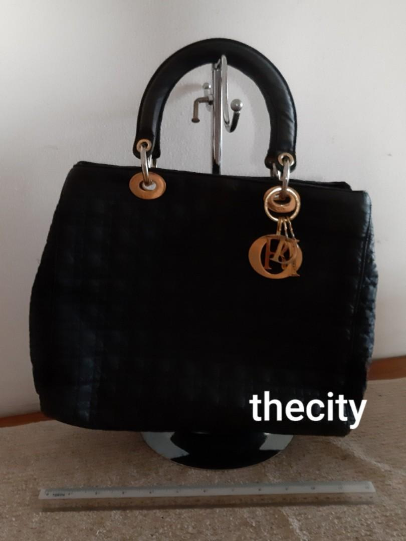 AUTHENTIC DIOR, MEDIUM LADY DIOR BAG - 2 DOUBLE ZIP COMPARTMENTS DESIGN - RARE ITEM - BLACK SUEDE MICROFIBER - CLEAN INTERIOR - (LADY DIOR BAGS NOW RETAIL OVER RM 17,000+)