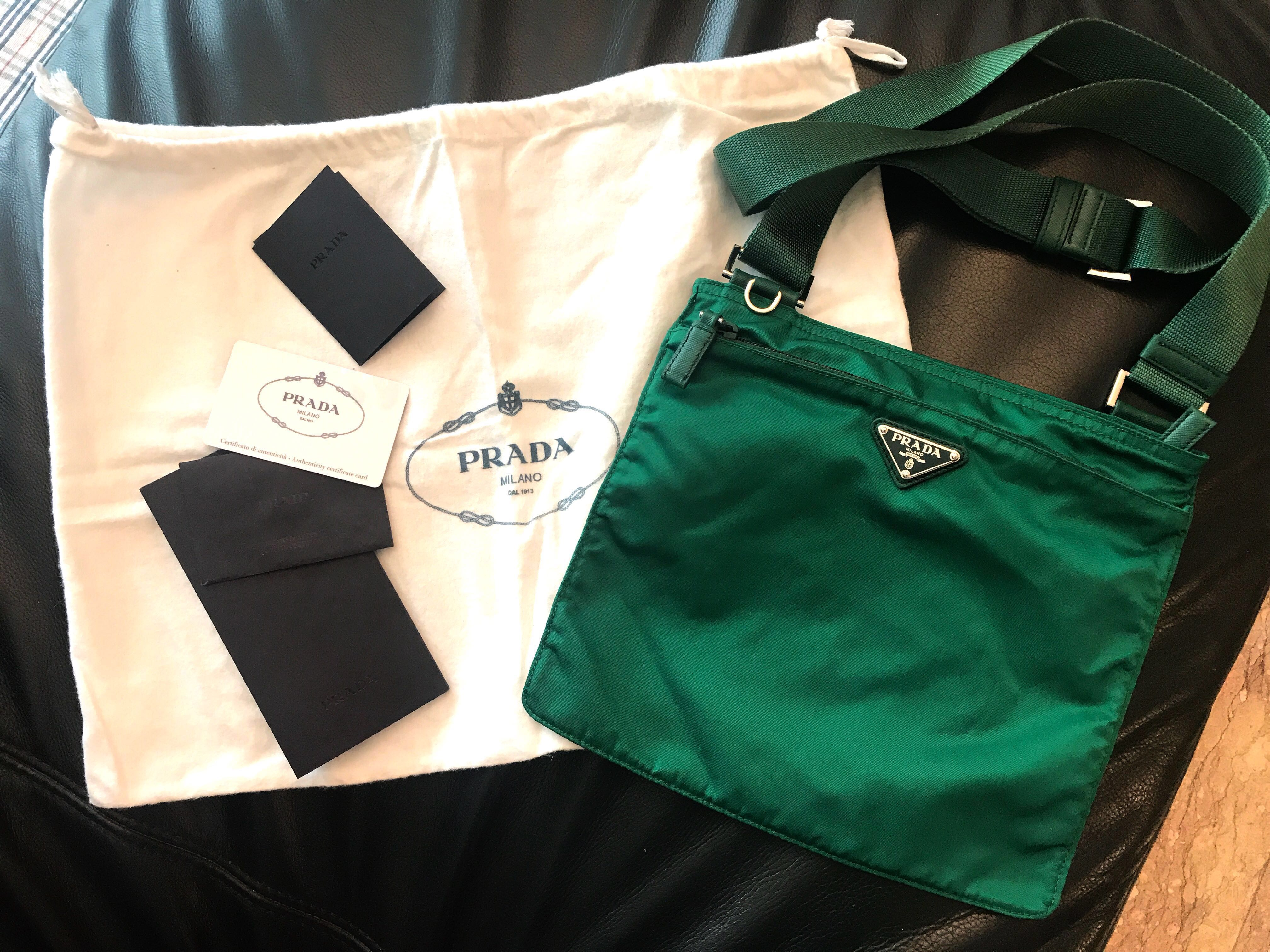 56abd51bd12e Authentic Prada Unique Green Nylon Sling Bag, Women's Fashion, Bags &  Wallets, Sling Bags on Carousell
