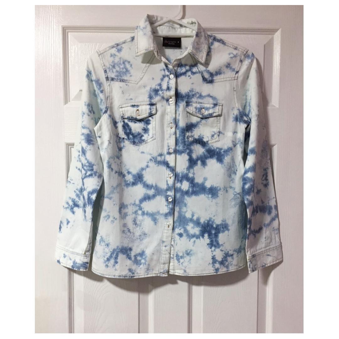 Blue Tie Dye Cotton Denim Shirt Top - Size 8 - Free shipping