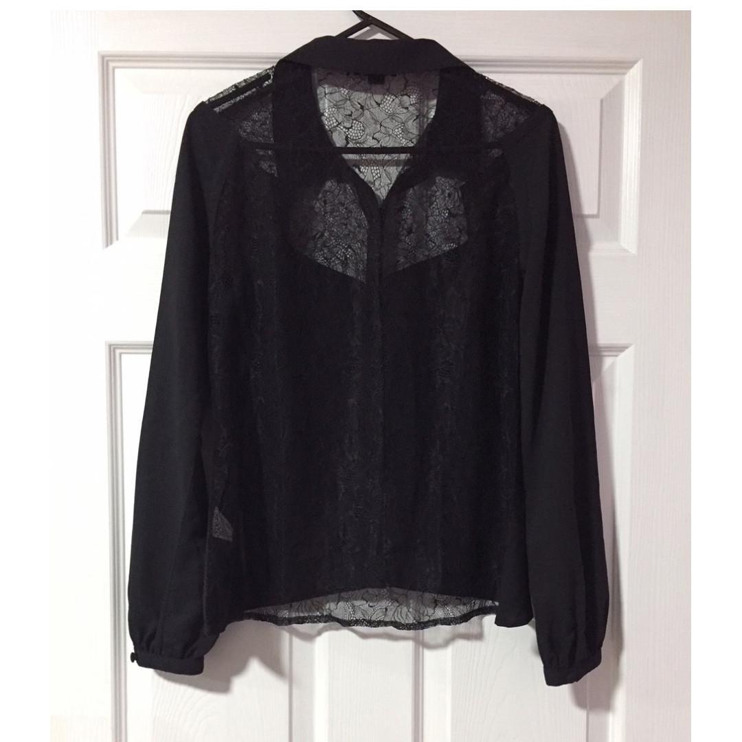 Bluejuice Black Lace Yoke & Back Shirt Blouse - Size S - Free Shipping