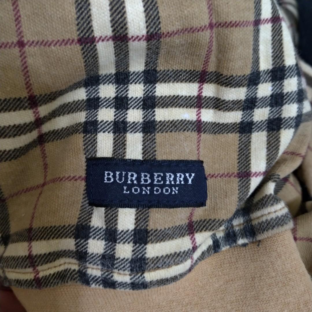 Burberry 古著 polo衫 格紋 卡其 經典 長袖 電繡 Logo 老品 復古  Vintage