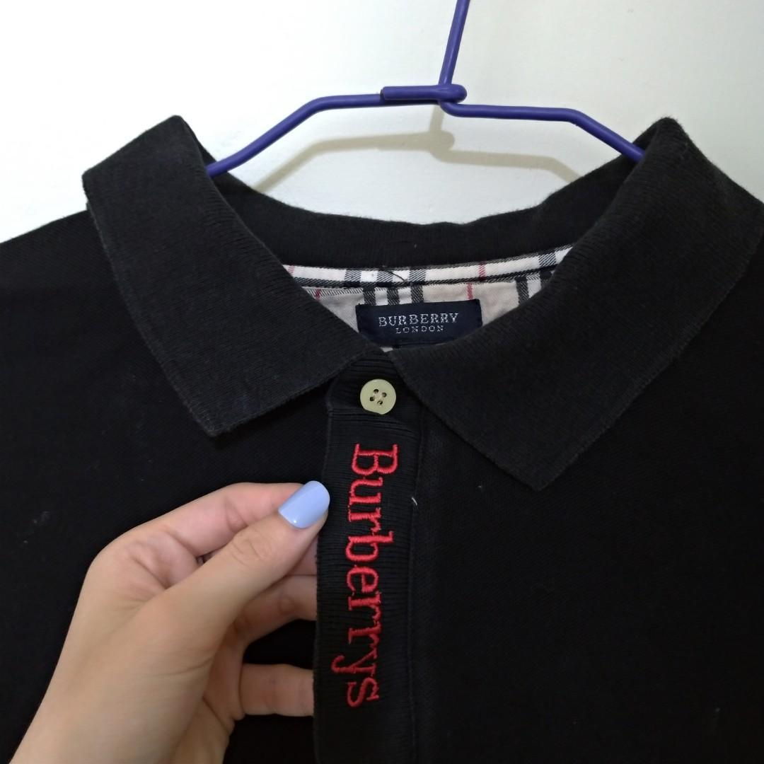 Burberry 古著 polo衫 格紋 黑 紅 經典 長袖 電繡 Logo 老品 復古  Vintage