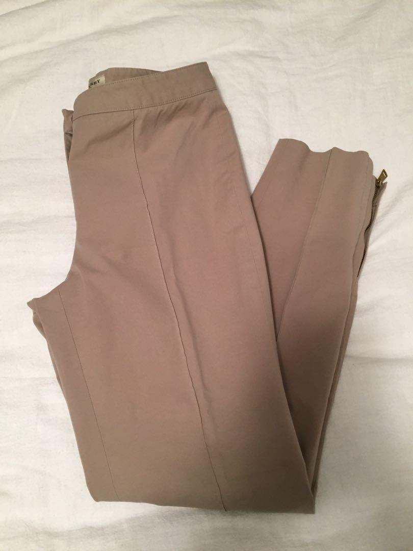 Burberry London Beige Slim Skinny Fit Dress Pant with Plaid Accent Zippers