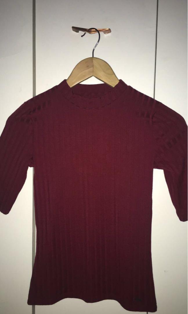 Burgundy Bodycon Shirt
