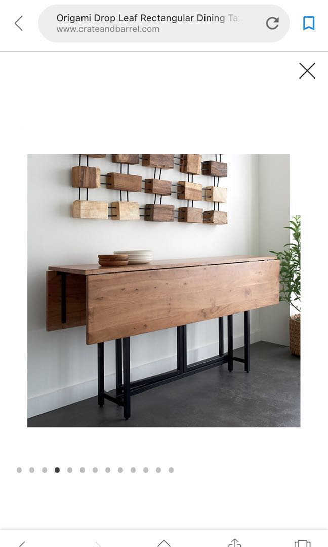 Crate And Barrel Drop Leaf Origami Folding Table Furniture Tables