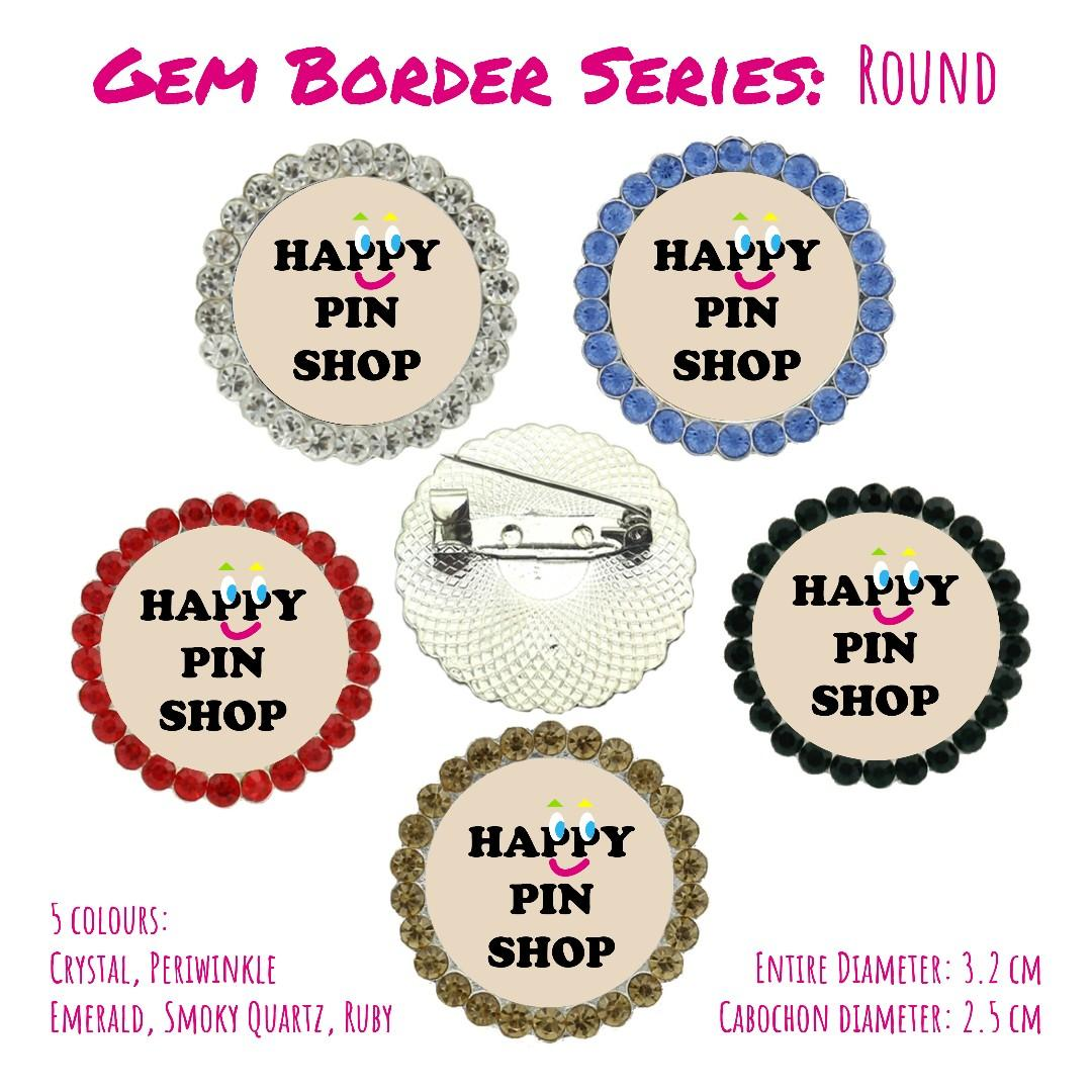 [20% OFF] Wedding Pins - Customised / Personalised Cabochon Pins (different sizes, plain or with gem border, different coloured gem borders)