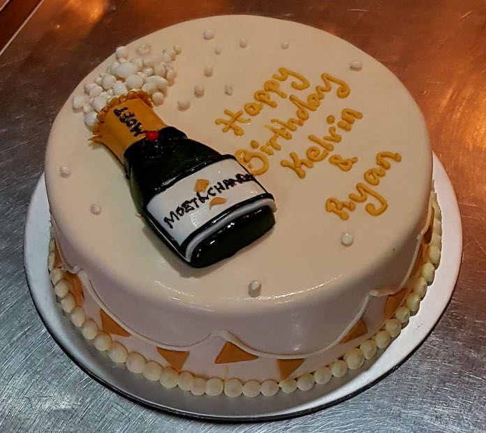 Customised Champagne Birthday Cake 7 Food Drinks Baked Goods On