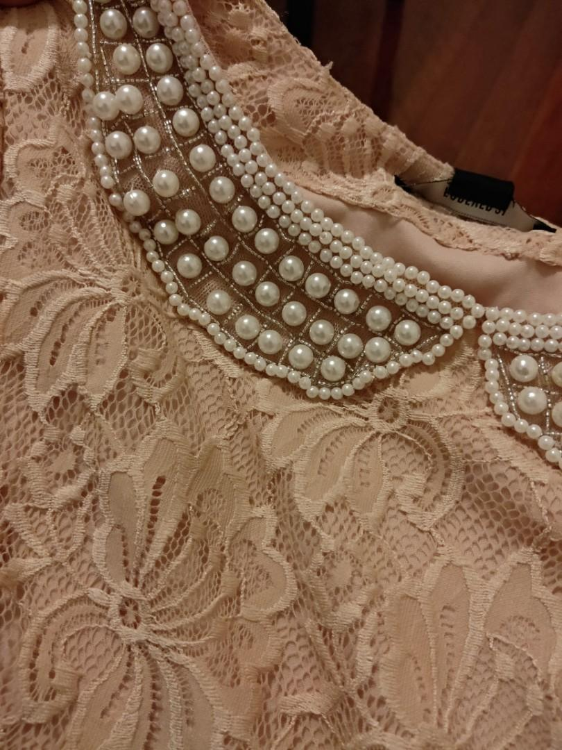 forever 21 one piece dress with pearl collar peach/cream