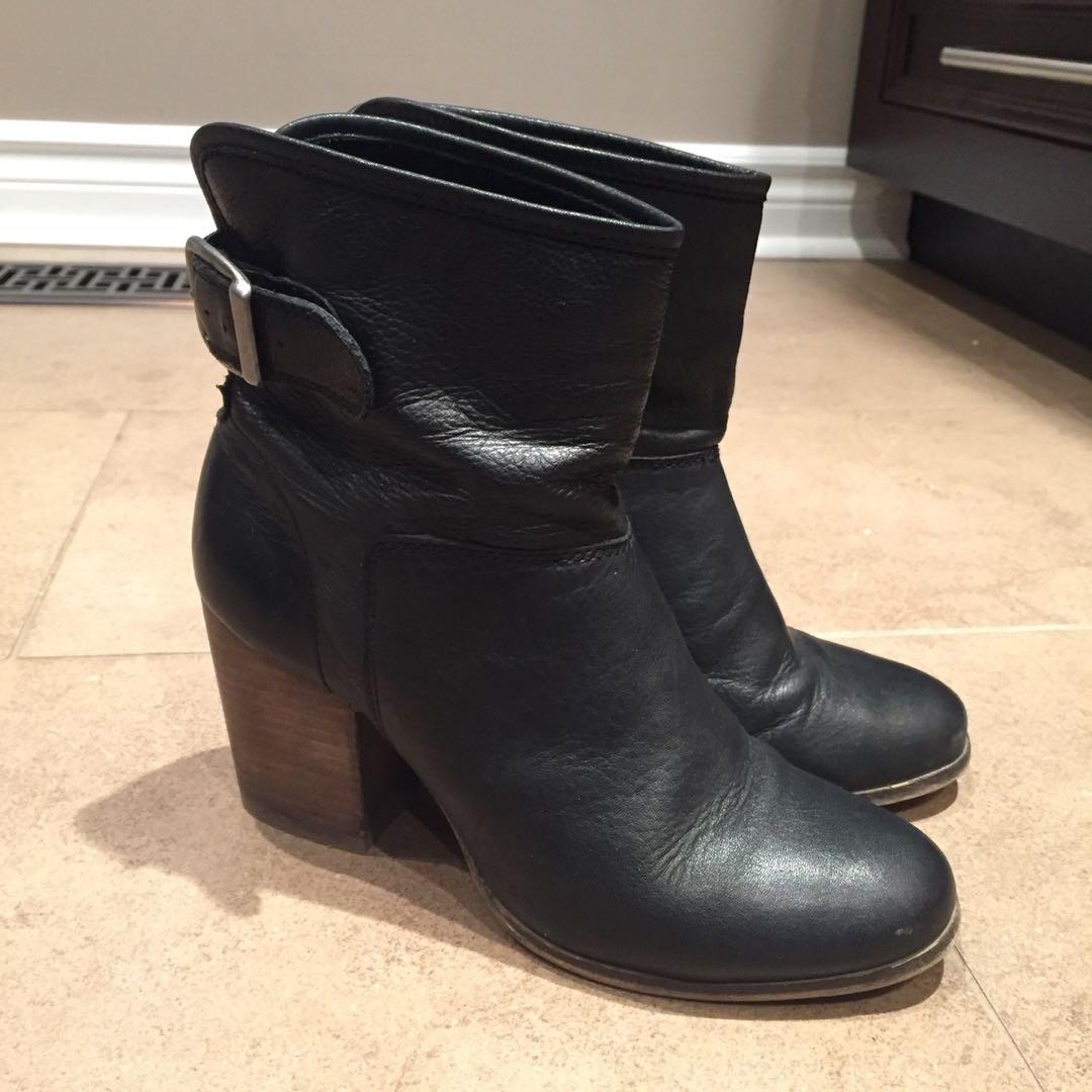Genuine Leather Black Heeled Ankle Boots with Buckle