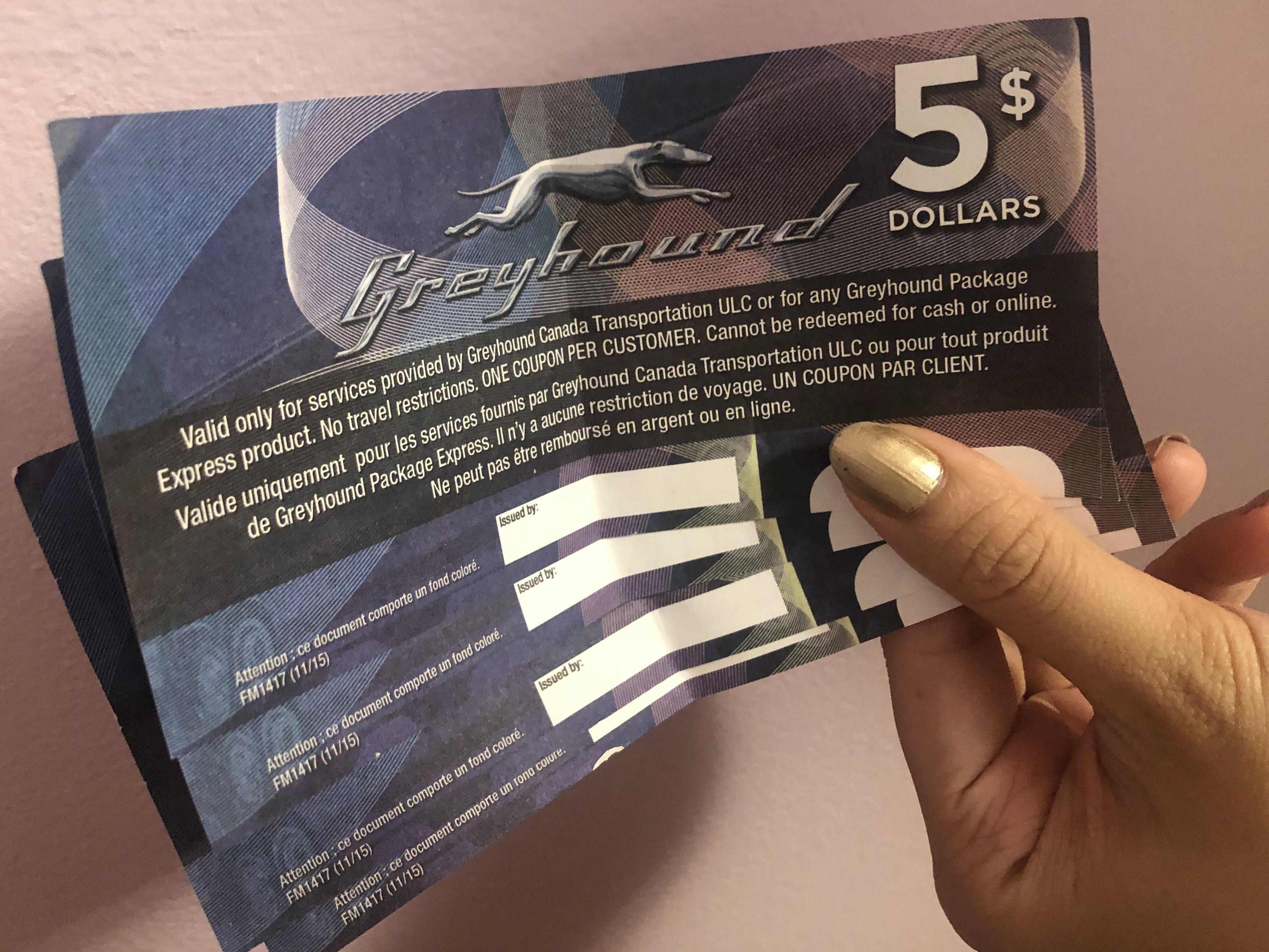 Greyhound $20 voucher (4 of them $5 each)