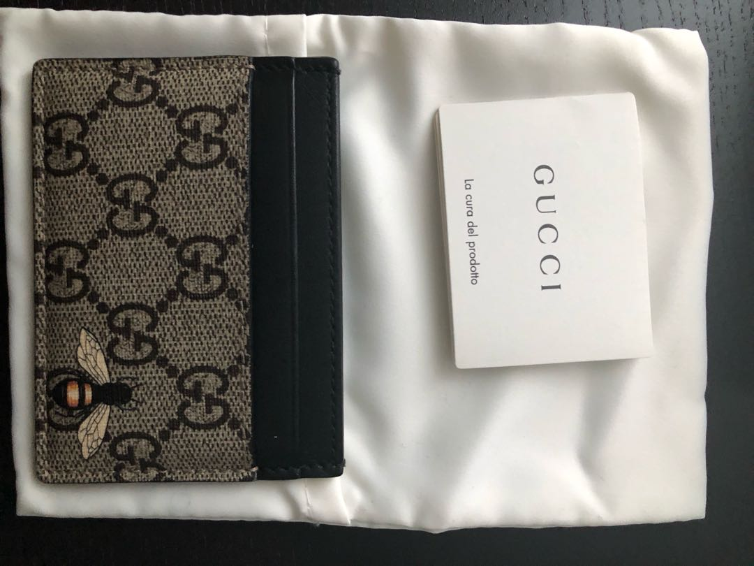 fe258687d6c5 Gucci Bee card holder, Luxury, Bags & Wallets, Wallets on Carousell