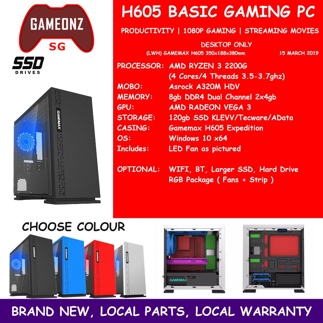 H605 BASIC GAMING PC AMD RYZEN 3 2200G 8gb Ram 120gb SSD