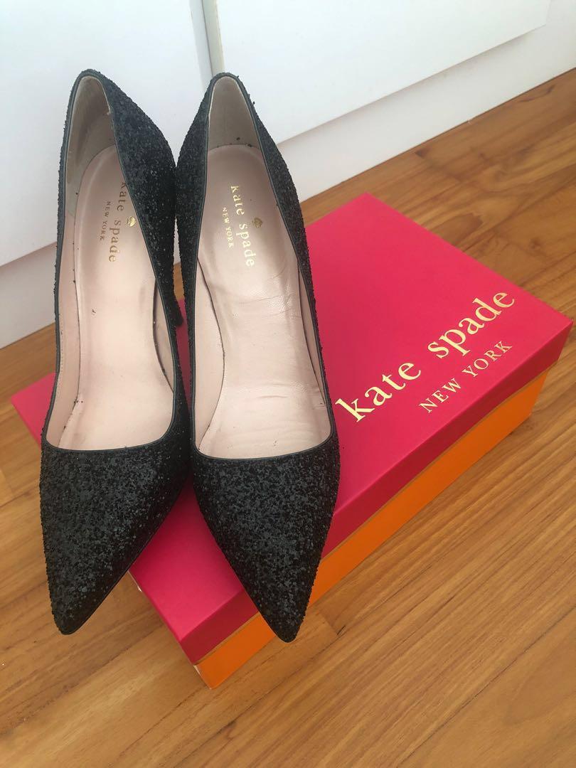 c60a8ee37e3e Kate Spade Licorice Black Glitter Heels