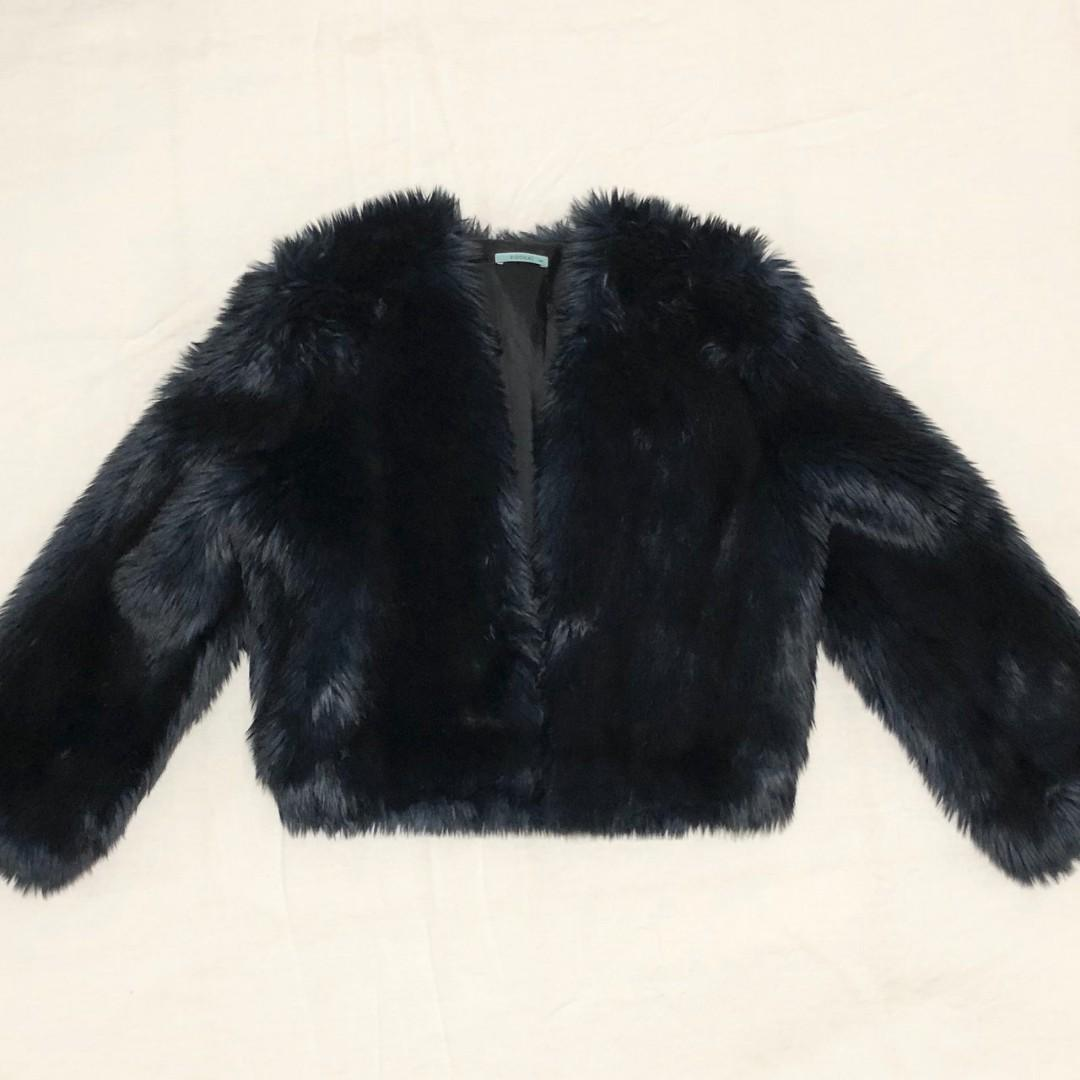 kookai navy fur jacket cropped size 34