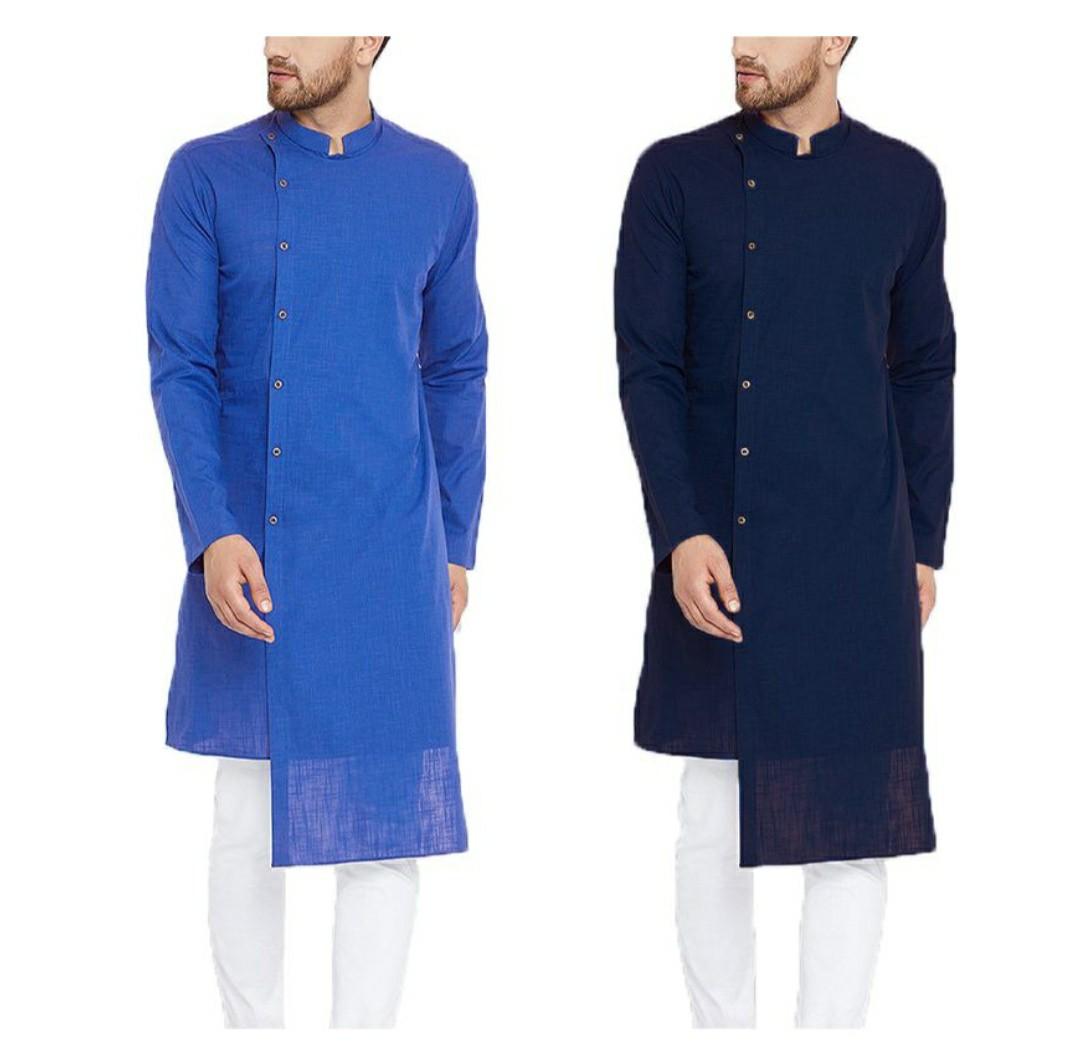 312f5b9fcfc Kurtas men long shirt navy blue bright blue plus size available ...