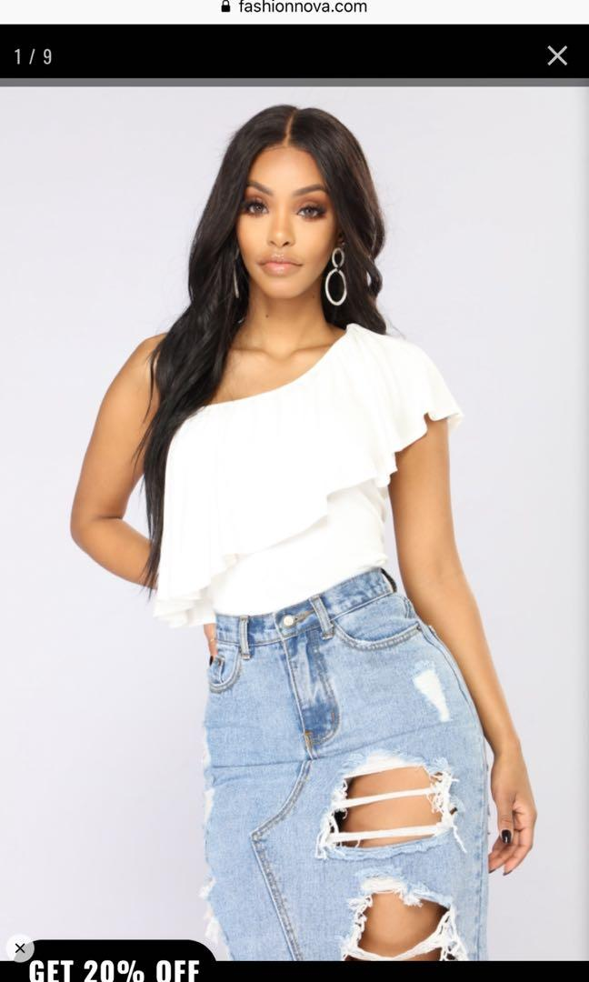 Long Summer Nights One Shoulder Top-White