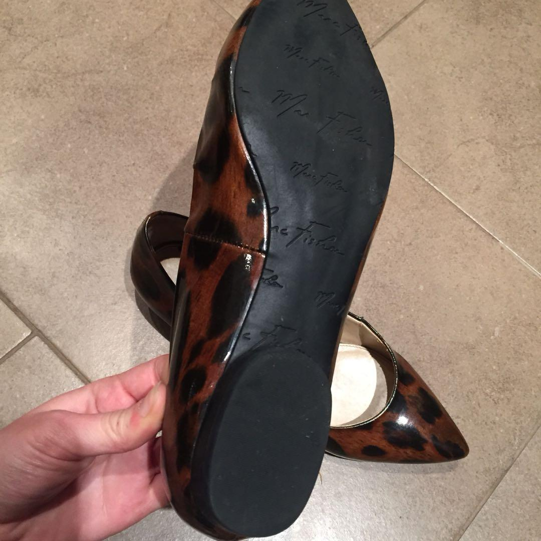 Marc Fisher Patent Cheetah Leopard Print Pointed Toe Flats