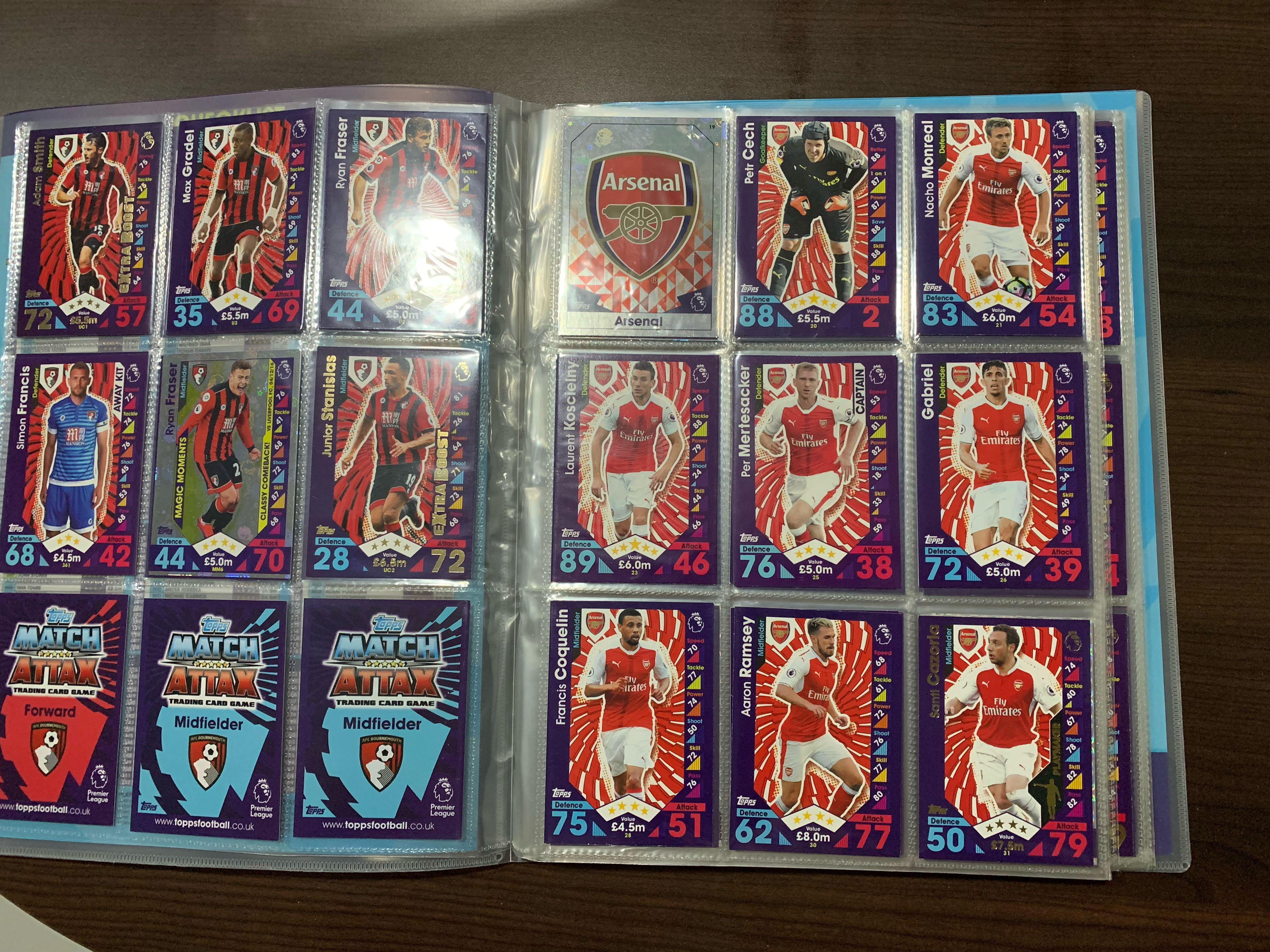 Match attax 16-17 EPL cards with binder