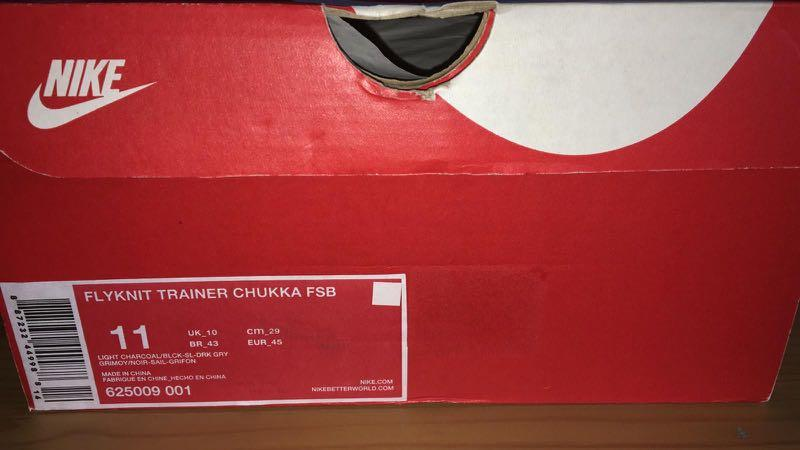 Nike Flyknit Chukka FSB Light Charcoal US11