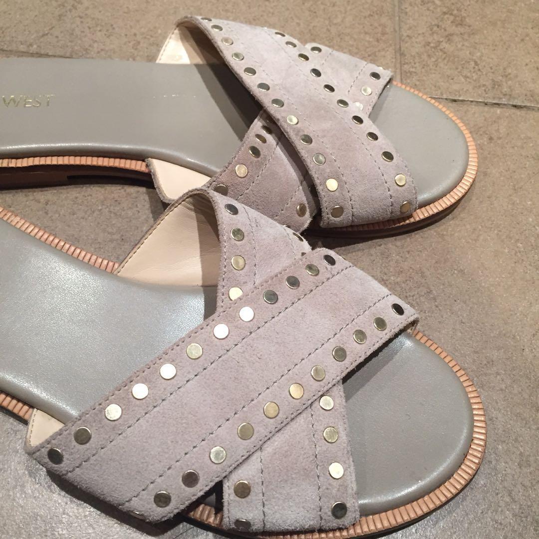 Nine West Genuine Suede Grey Slides Slip On Sandals