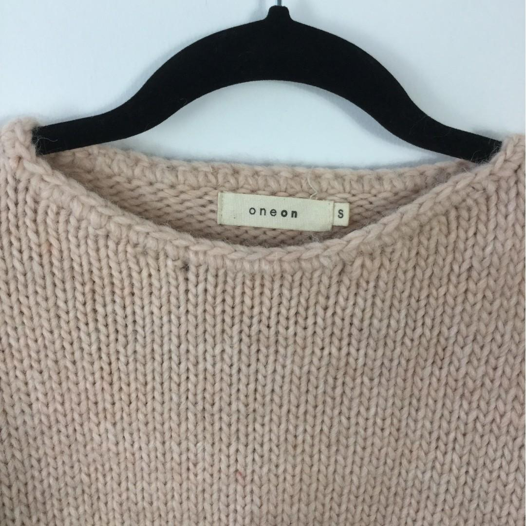 Oneon - Hand Knitted Jumper with Cold Shoulder and Cable Sleeve