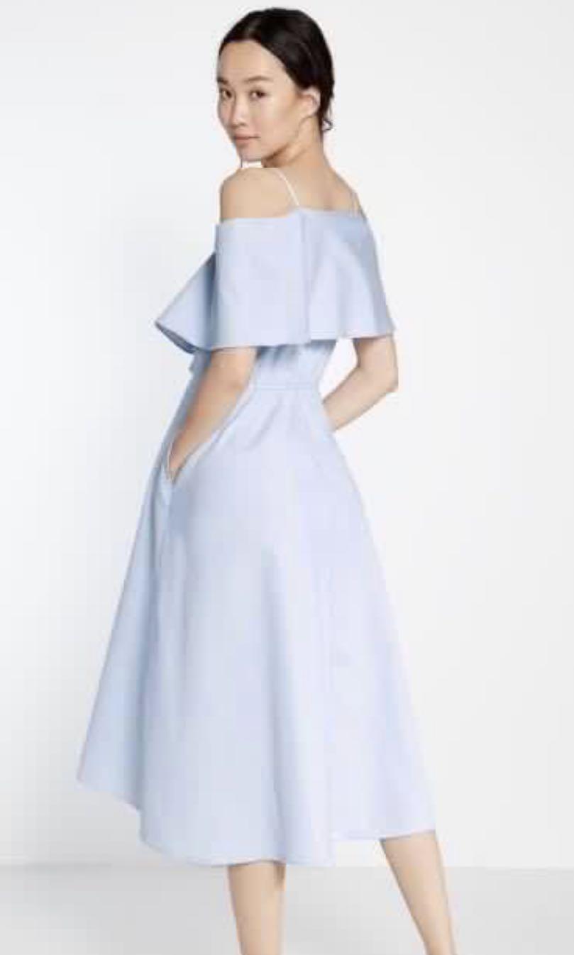 Pomelo Aya Cut Out Shoulder Midi Dress in Blue (XS)