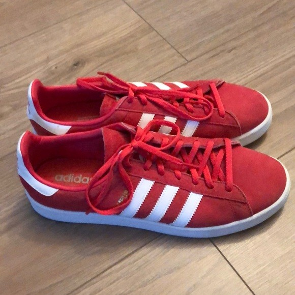 Red Adidas Campus Suede Shoes, Women's